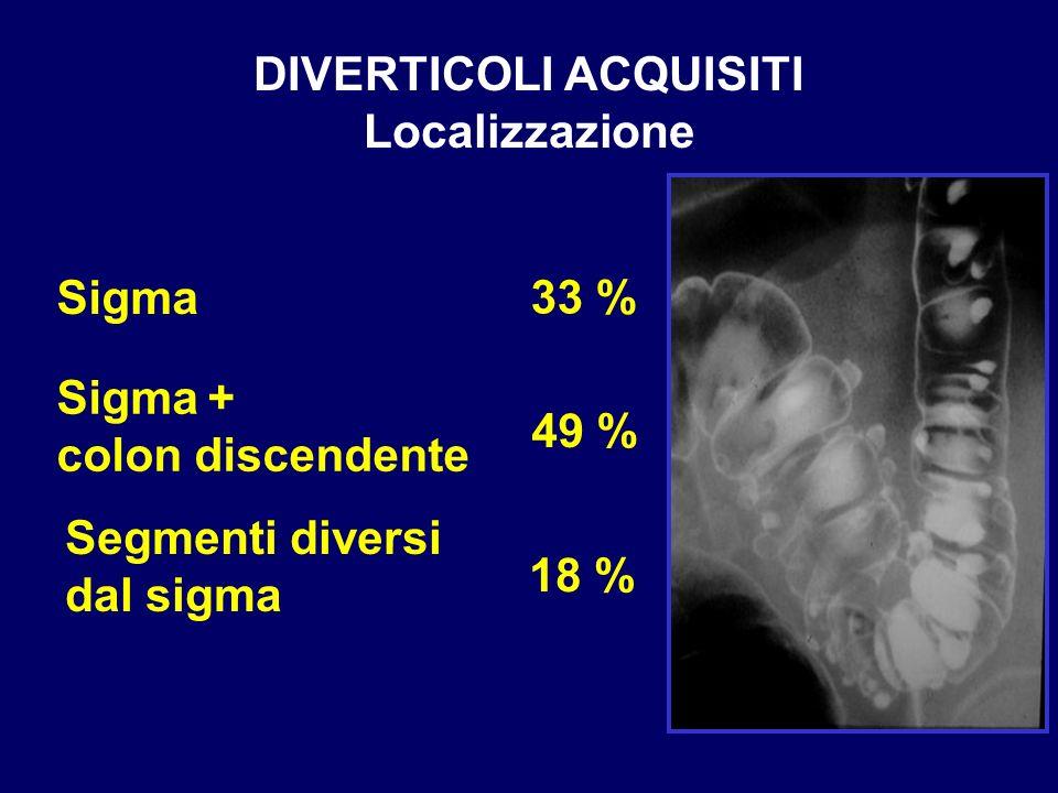 DIVERTICOLI ACQUISITI Localizzazione Segmenti diversi dal sigma 33 % 49 % Sigma + colon discendente Sigma 18 %