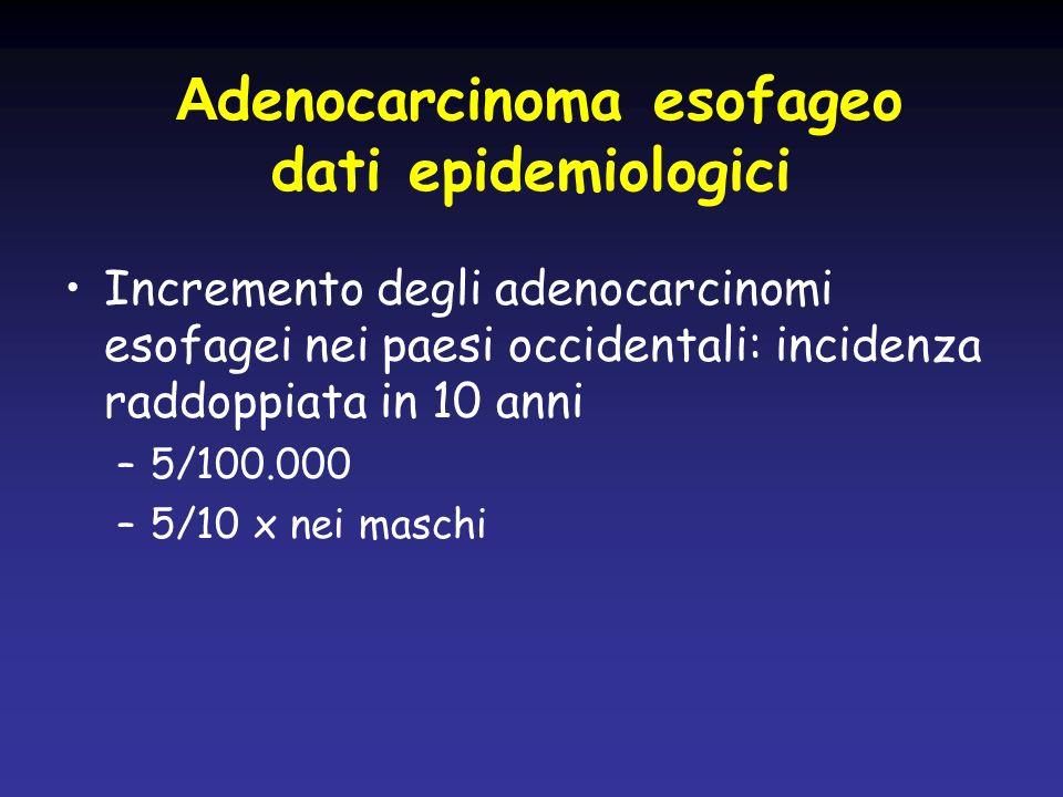 A denocarcinoma esofageo dati epidemiologici Incremento degli adenocarcinomi esofagei nei paesi occidentali: incidenza raddoppiata in 10 anni –5/100.0
