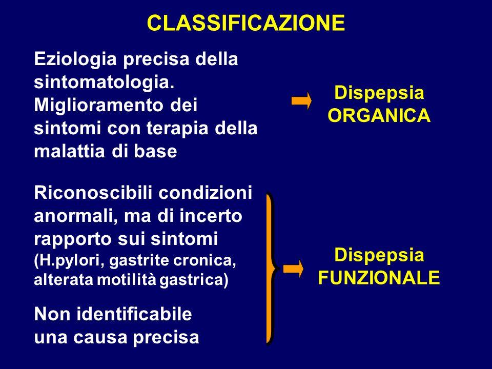 CLASSIFICAZIONE Eziologia precisa della sintomatologia.