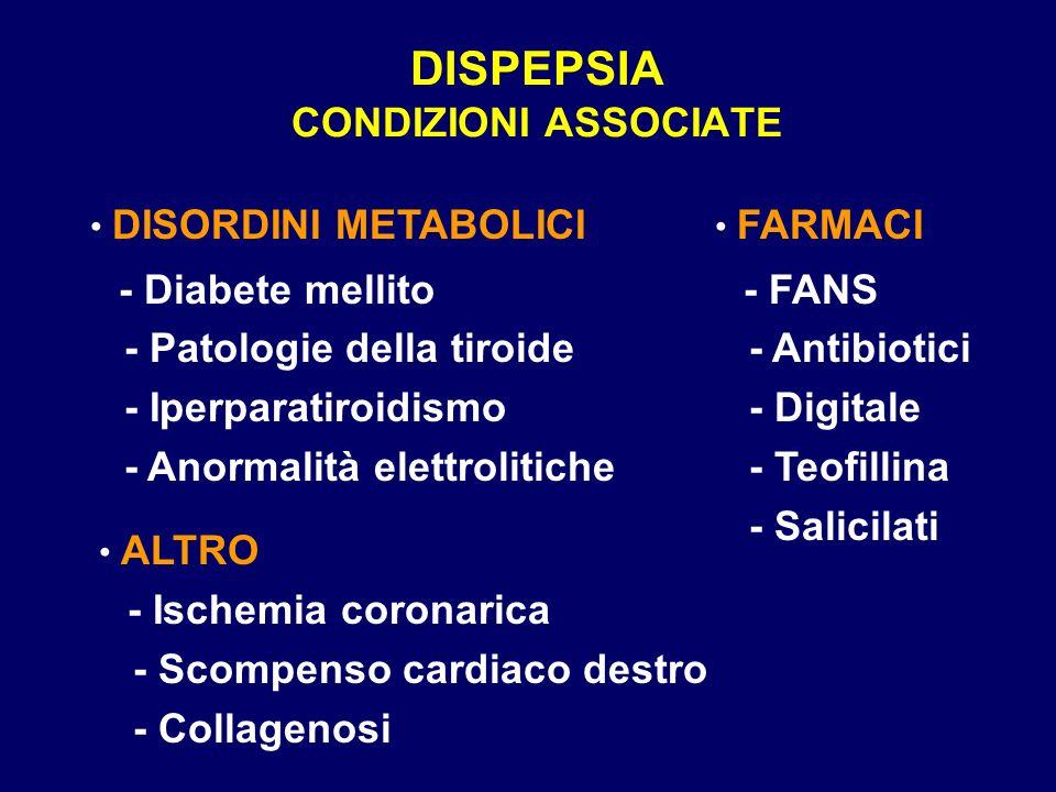 DISPEPSIA CONDIZIONI ASSOCIATE DISORDINI METABOLICI - Diabete mellito - Patologie della tiroide - Iperparatiroidismo - Anormalità elettrolitiche FARMACI - FANS - Antibiotici - Digitale - Teofillina - Salicilati ALTRO - Ischemia coronarica - Scompenso cardiaco destro - Collagenosi