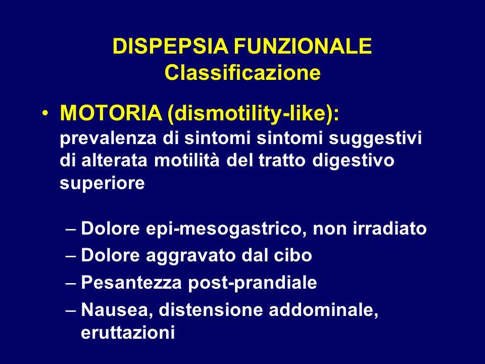 DISPEPSIA ESAMI STRUMENTALI (1° livello) –ESOFAGO-GASTRO-DUODENOSCOPIA malattia da reflusso gastro-esofageo gastrite cronica / malattia ulcerosa neoplasie –BIOPSIA PERENDOSCOPICA esofago: sospetto epitelio di Barrett, neoplasia stomaco: gastrite, ulcera gastrica, neoplasia duodeno: sospetto malassorimento –ECOGRAFIA ADDOME fegato, sistema portale, vie biliari pancreas, milza, masse addominali –RADIOLOGIA studio del transito dislocazione / compressione dei visceri