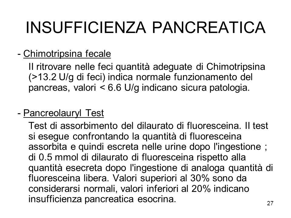 27 INSUFFICIENZA PANCREATICA - Chimotripsina fecale II ritrovare nelle feci quantità adeguate di Chimotripsina (>13.2 U/g di feci) indica normale funzionamento del pancreas, valori < 6.6 U/g indicano sicura patologia.
