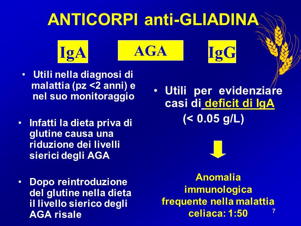 8 ANTICORPI anti-GLIADINA Anticorpi sensibilità % specificità % AGA IgA 69 92 AGA IgG 89 47 AGA IgA + IgG 91 95 Carroccio et al, 1993 AGA
