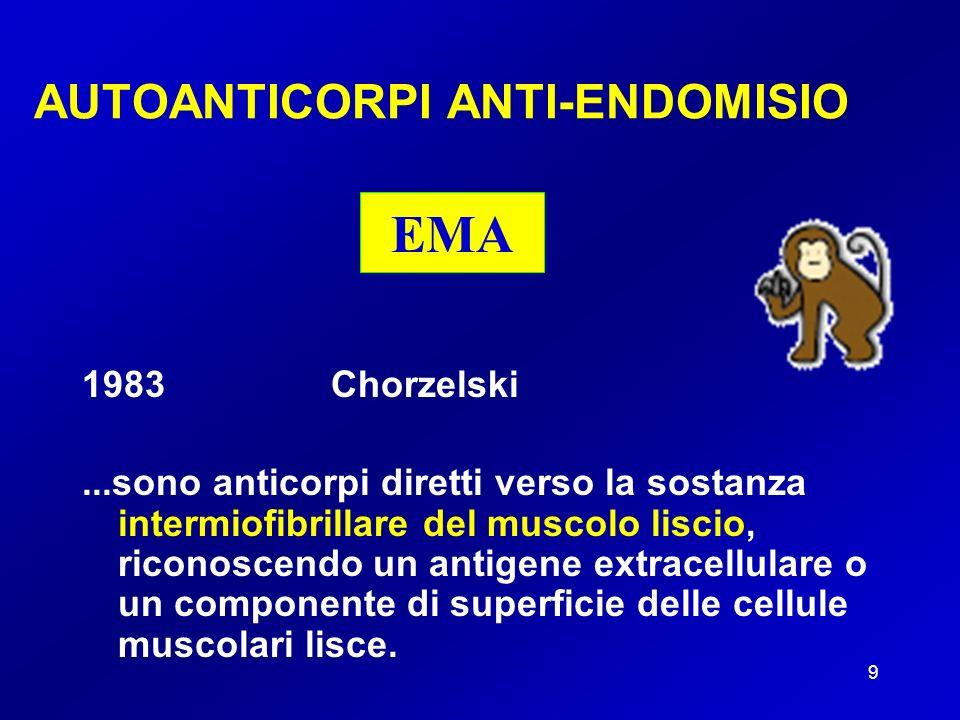 10 AUTOANTICORPI ANTI-ENDOMISIO Anticorpi di classe IgA EMA Immunofluorescenza indiretta (IFI) Substrato: kit commeriali che utilizzano sezioni di terzo inferiore di esofago di scimmia o cordone ombelicale umano