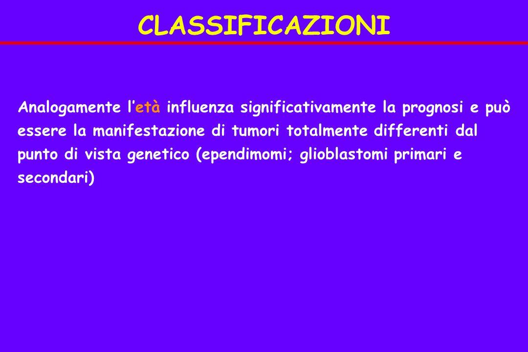 CLASSIFICAZIONI Analogamente letà influenza significativamente la prognosi e può essere la manifestazione di tumori totalmente differenti dal punto di vista genetico (ependimomi; glioblastomi primari e secondari)