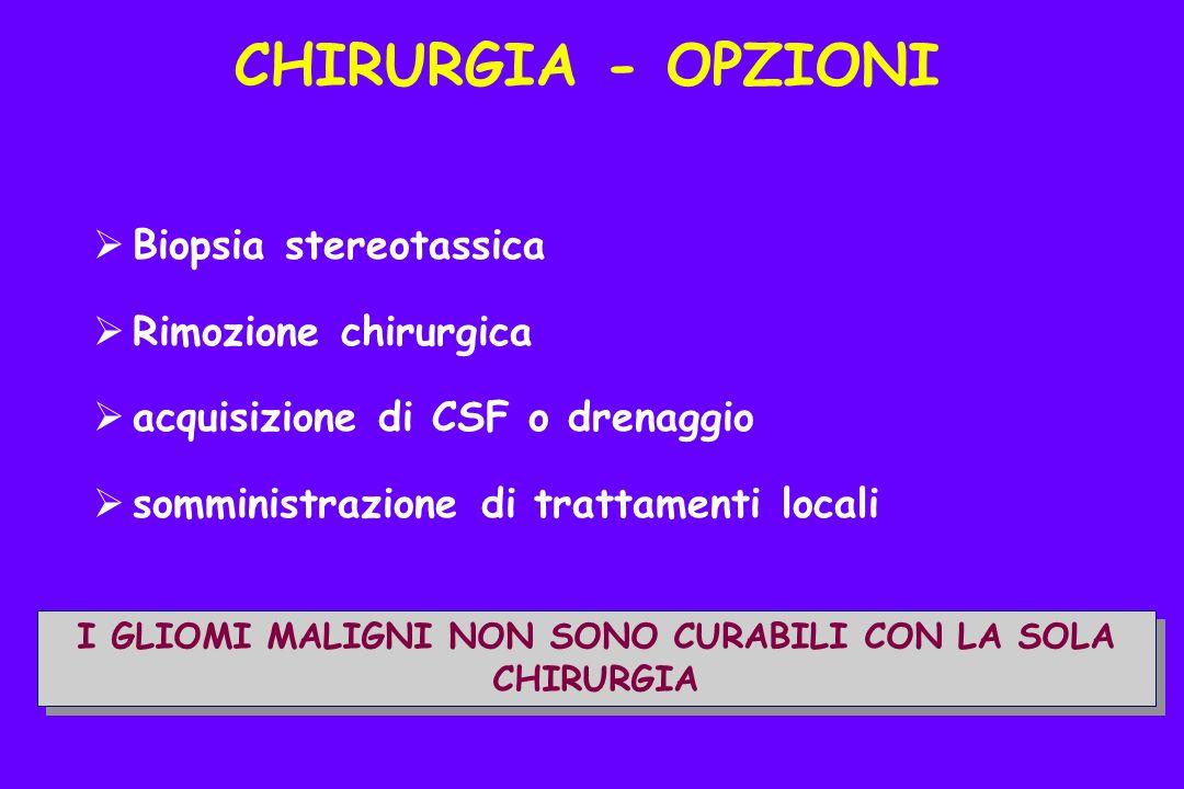 Biopsia stereotassica Rimozione chirurgica acquisizione di CSF o drenaggio somministrazione di trattamenti locali I GLIOMI MALIGNI NON SONO CURABILI CON LA SOLA CHIRURGIA CHIRURGIA - OPZIONI