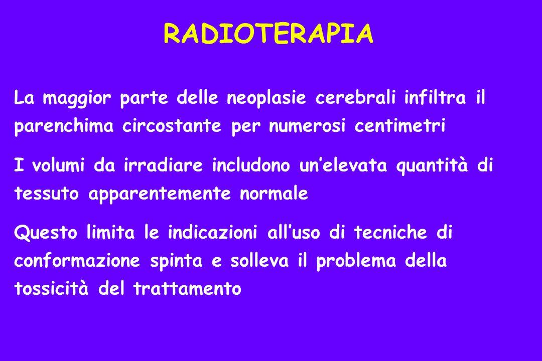 La maggior parte delle neoplasie cerebrali infiltra il parenchima circostante per numerosi centimetri I volumi da irradiare includono unelevata quantità di tessuto apparentemente normale Questo limita le indicazioni alluso di tecniche di conformazione spinta e solleva il problema della tossicità del trattamento RADIOTERAPIA