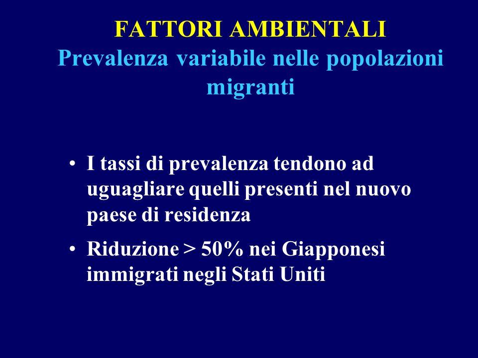 FATTORI AMBIENTALI Prevalenza variabile nelle popolazioni migranti I tassi di prevalenza tendono ad uguagliare quelli presenti nel nuovo paese di resi