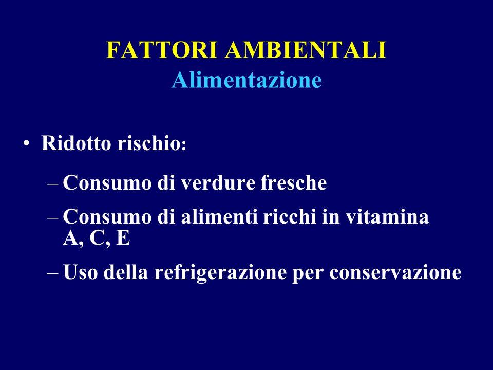 FATTORI AMBIENTALI Alimentazione Ridotto rischio : –Consumo di verdure fresche –Consumo di alimenti ricchi in vitamina A, C, E –Uso della refrigerazio