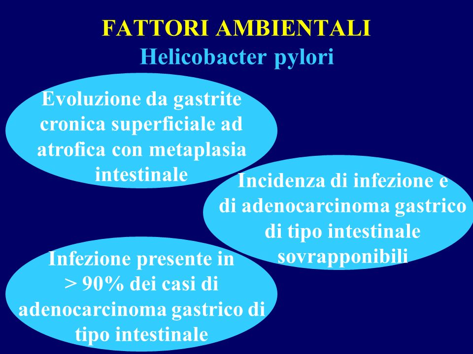 FATTORI AMBIENTALI Helicobacter pylori Evoluzione da gastrite cronica superficiale ad atrofica con metaplasia intestinale Incidenza di infezione e di
