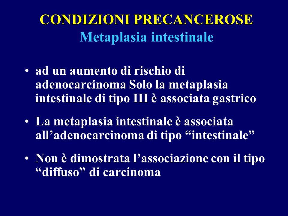 CONDIZIONI PRECANCEROSE Metaplasia intestinale ad un aumento di rischio di adenocarcinoma Solo la metaplasia intestinale di tipo III è associata gastr