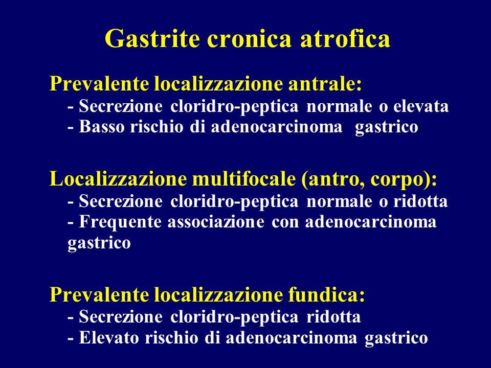 Gastrite cronica atrofica Prevalente localizzazione antrale: - Secrezione cloridro-peptica normale o elevata - Basso rischio di adenocarcinoma gastric