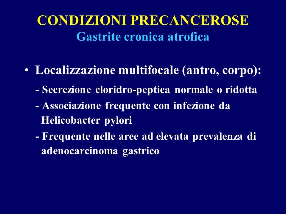 CONDIZIONI PRECANCEROSE Gastrite cronica atrofica Localizzazione multifocale (antro, corpo): - Secrezione cloridro-peptica normale o ridotta - Associa