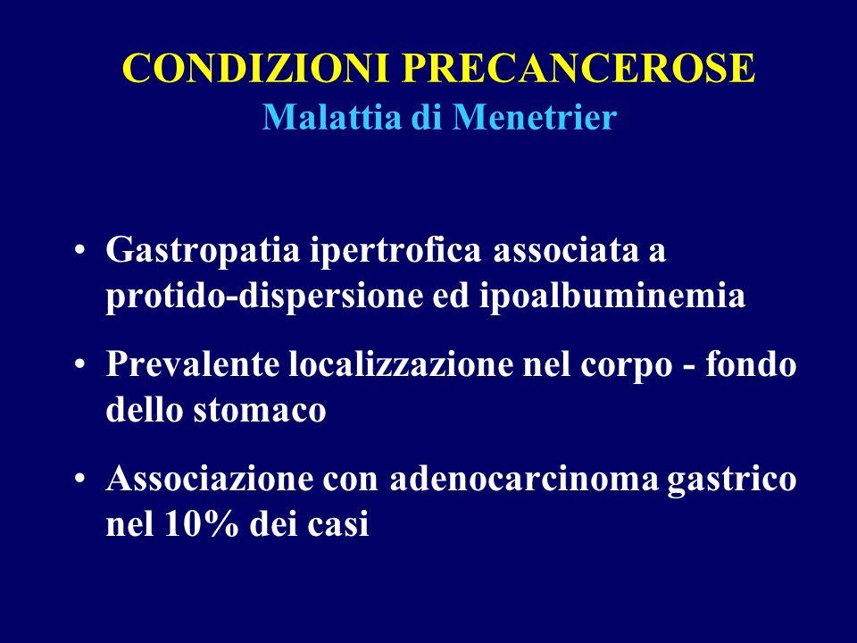 CONDIZIONI PRECANCEROSE Malattia di Menetrier Gastropatia ipertrofica associata a protido-dispersione ed ipoalbuminemia Prevalente localizzazione nel