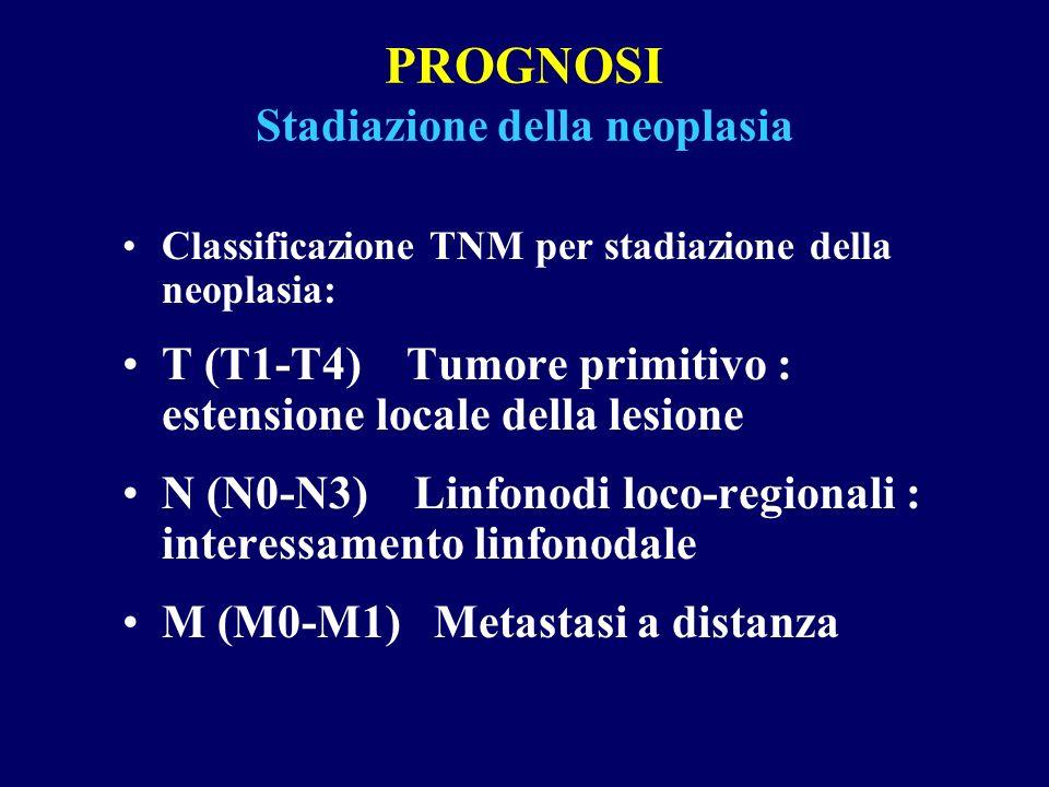 PROGNOSI Stadiazione della neoplasia Classificazione TNM per stadiazione della neoplasia: T (T1-T4) Tumore primitivo : estensione locale della lesione