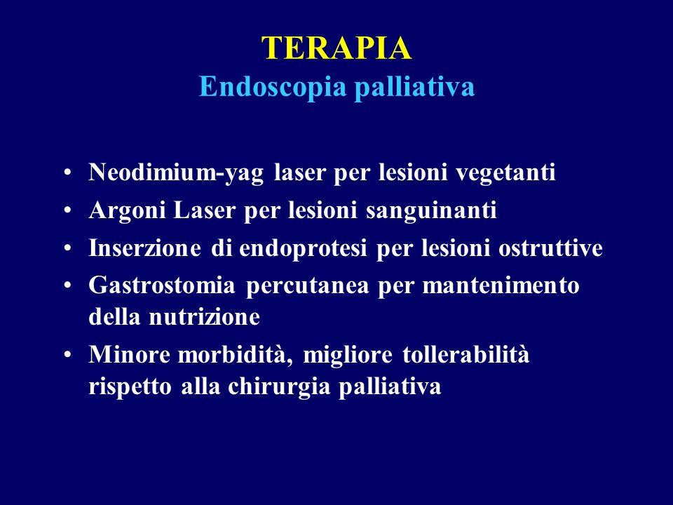 TERAPIA Endoscopia palliativa Neodimium-yag laser per lesioni vegetanti Argoni Laser per lesioni sanguinanti Inserzione di endoprotesi per lesioni ost