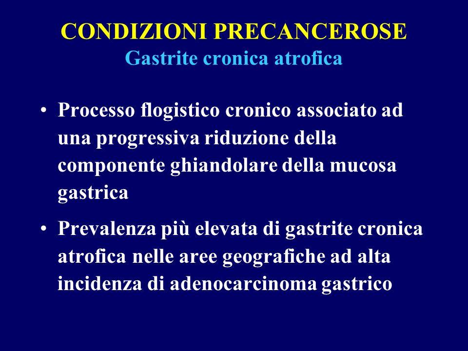 CONDIZIONI PRECANCEROSE Gastrite cronica atrofica Processo flogistico cronico associato ad una progressiva riduzione della componente ghiandolare dell