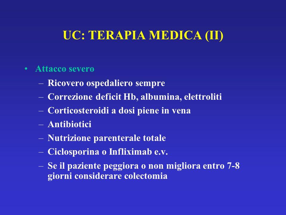UC: TERAPIA MEDICA (II) Attacco severo –Ricovero ospedaliero sempre –Correzione deficit Hb, albumina, elettroliti –Corticosteroidi a dosi piene in vena –Antibiotici –Nutrizione parenterale totale –Ciclosporina o Infliximab e.v.