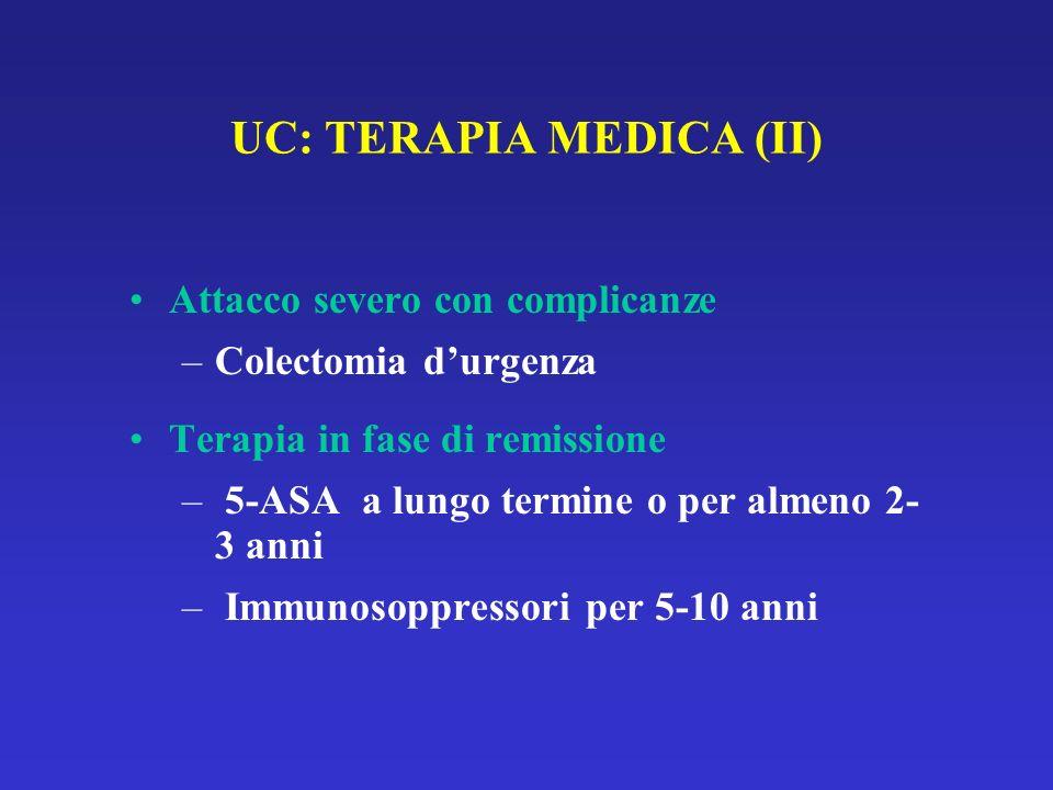 UC: TERAPIA MEDICA (II) Attacco severo con complicanze –Colectomia durgenza Terapia in fase di remissione – 5-ASA a lungo termine o per almeno 2- 3 anni – Immunosoppressori per 5-10 anni