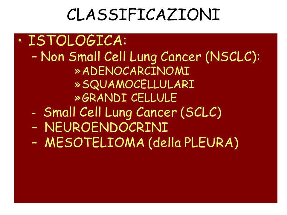 CLASSIFICAZIONI ISTOLOGICA: –Non Small Cell Lung Cancer (NSCLC): »ADENOCARCINOMI »SQUAMOCELLULARI »GRANDI CELLULE – Small Cell Lung Cancer (SCLC) – NE
