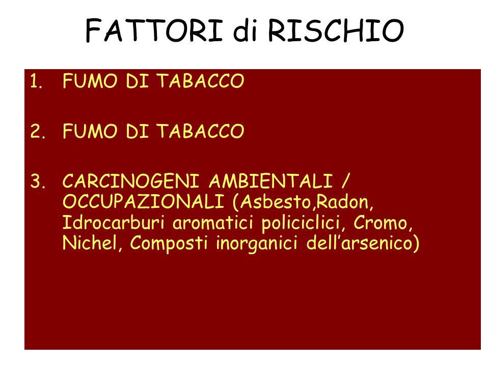FATTORI di RISCHIO 1.FUMO DI TABACCO 2.FUMO DI TABACCO 3.CARCINOGENI AMBIENTALI / OCCUPAZIONALI (Asbesto,Radon, Idrocarburi aromatici policiclici, Cro