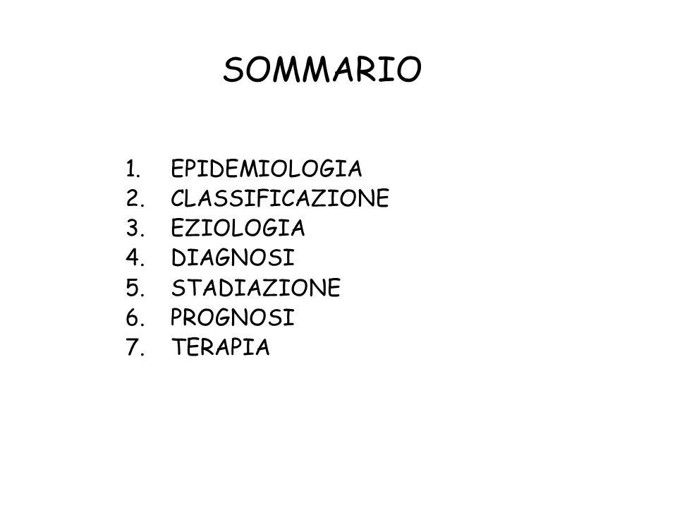 1.EPIDEMIOLOGIA 2.CLASSIFICAZIONE 3.EZIOLOGIA 4.DIAGNOSI 5.STADIAZIONE 6.PROGNOSI 7.TERAPIA SOMMARIO