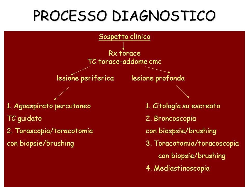 PROCESSO DIAGNOSTICO Sospetto clinico Rx torace TC torace-addome cmc lesione perifericalesione profonda 1. Agoaspirato percutaneo 1. Citologia su escr