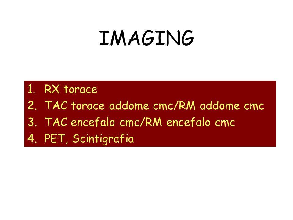 IMAGING 1.RX torace 2.TAC torace addome cmc/RM addome cmc 3.TAC encefalo cmc/RM encefalo cmc 4.PET, Scintigrafia