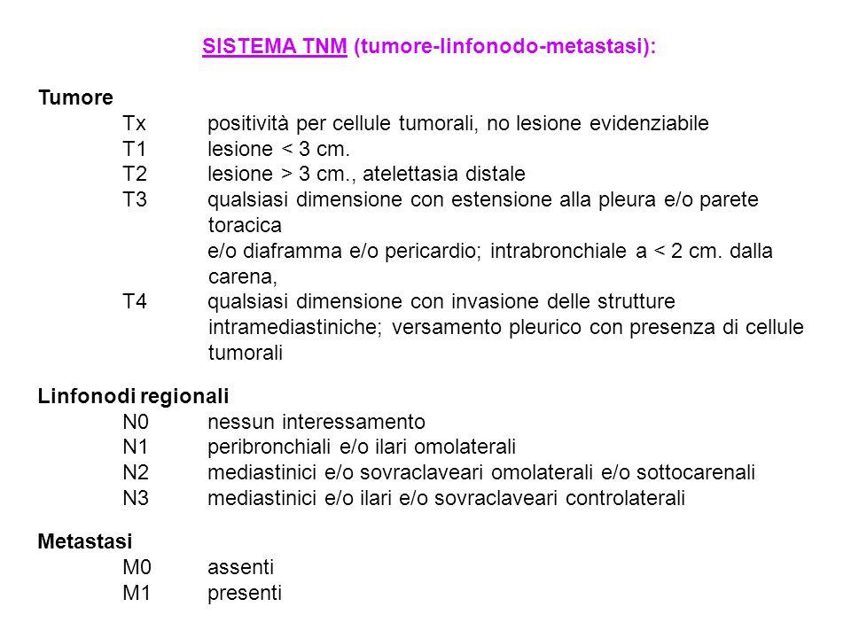 SISTEMA TNM (tumore-linfonodo-metastasi): Tumore Txpositività per cellule tumorali, no lesione evidenziabile T1lesione < 3 cm. T2lesione > 3 cm., atel