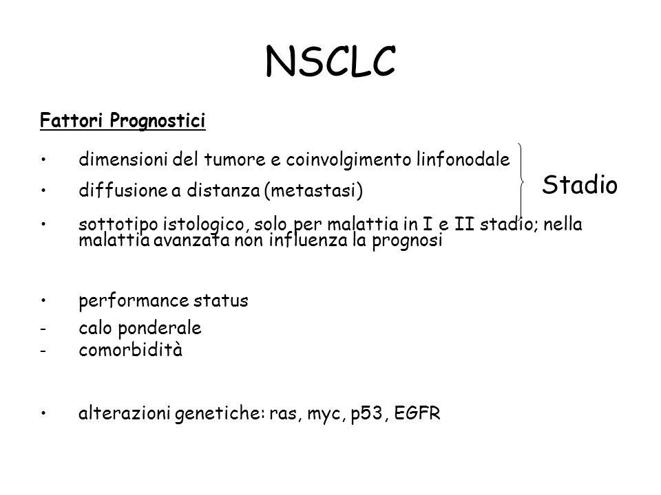 NSCLC Fattori Prognostici dimensioni del tumore e coinvolgimento linfonodale diffusione a distanza (metastasi) sottotipo istologico, solo per malattia