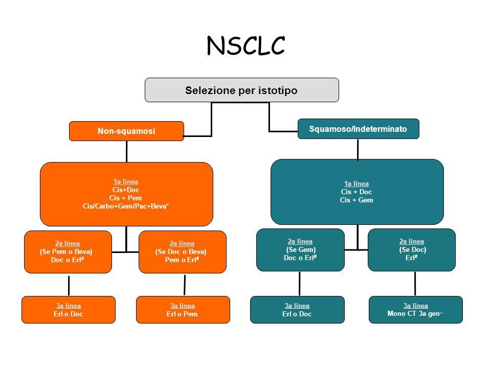 NSCLC Selezione per istotipo Non-squamosi Squamoso/Indeterminato 1a linea Cis+Doc Cis + Pem Cis/Carbo+Gem/Pac+Beva* 1a linea Cis + Doc Cis + Gem 2a li