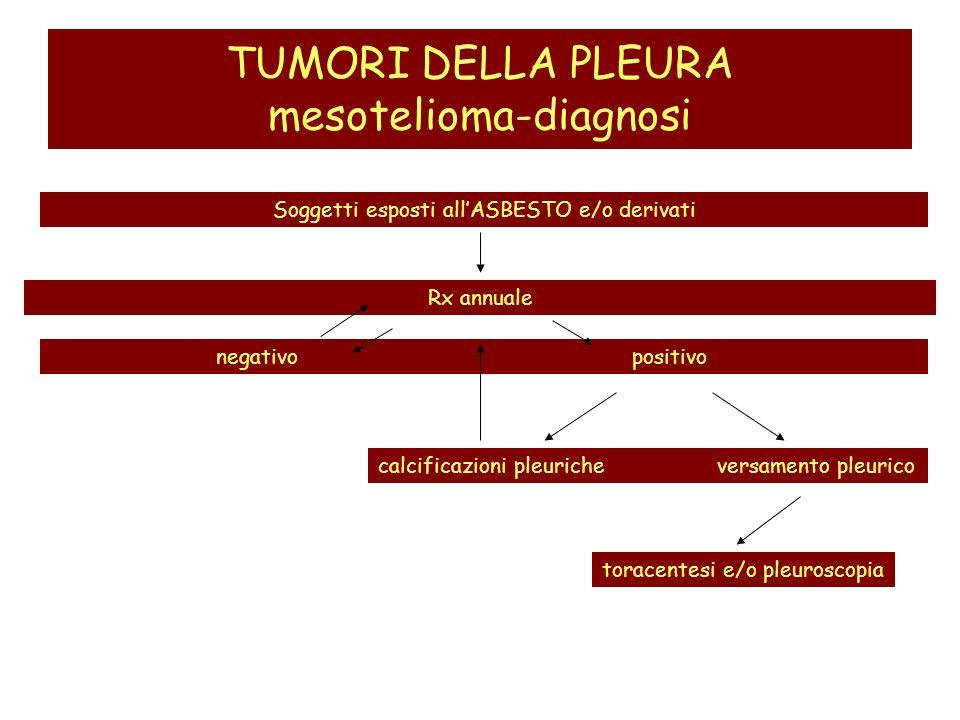 TUMORI DELLA PLEURA mesotelioma-diagnosi Soggetti esposti allASBESTO e/o derivati negativo positivo Rx annuale calcificazioni pleuriche versamento ple