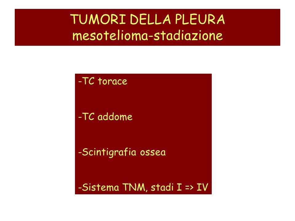 TUMORI DELLA PLEURA mesotelioma-stadiazione -TC torace -TC addome -Scintigrafia ossea -Sistema TNM, stadi I => IV