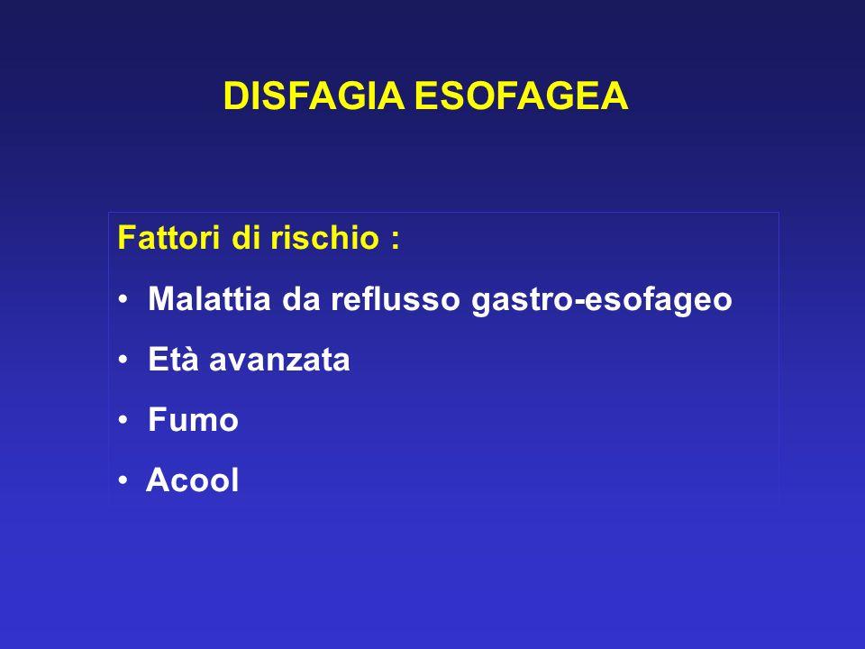 DISFAGIA ESOFAGEA Fattori di rischio : Malattia da reflusso gastro-esofageo Età avanzata Fumo Acool