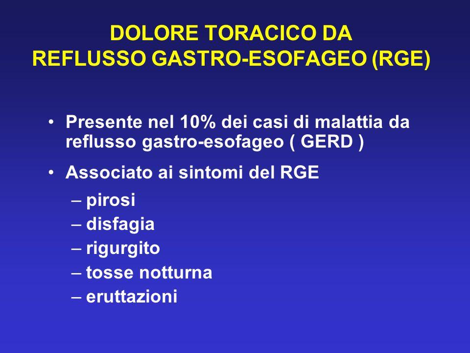 DOLORE TORACICO DA REFLUSSO GASTRO-ESOFAGEO (RGE) Presente nel 10% dei casi di malattia da reflusso gastro-esofageo ( GERD ) Associato ai sintomi del