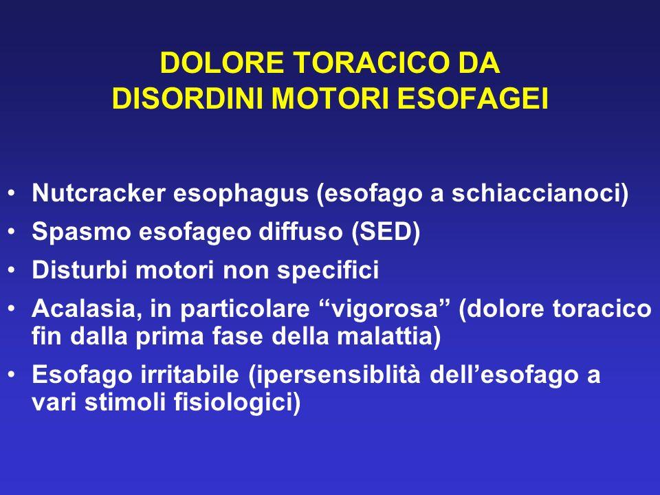 DOLORE TORACICO DA DISORDINI MOTORI ESOFAGEI Nutcracker esophagus (esofago a schiaccianoci) Spasmo esofageo diffuso (SED) Disturbi motori non specific