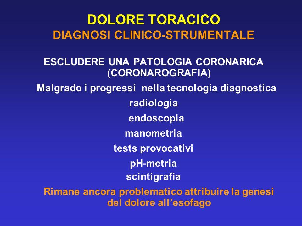 DOLORE TORACICO DIAGNOSI CLINICO-STRUMENTALE ESCLUDERE UNA PATOLOGIA CORONARICA (CORONAROGRAFIA) Malgrado i progressi nella tecnologia diagnostica rad
