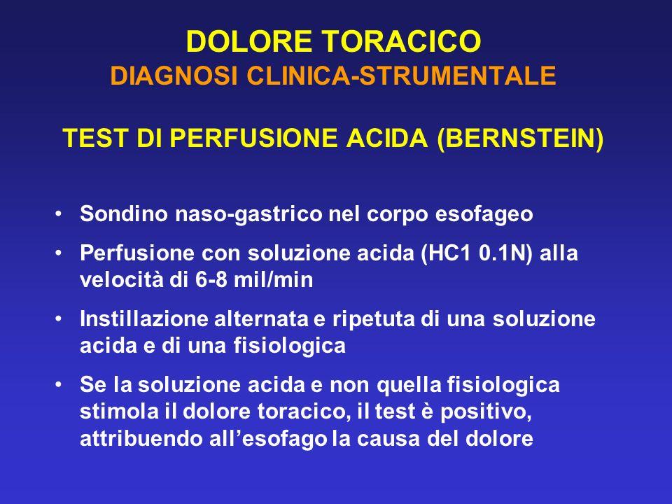 DOLORE TORACICO DIAGNOSI CLINICA-STRUMENTALE TEST DI PERFUSIONE ACIDA (BERNSTEIN) Sondino naso-gastrico nel corpo esofageo Perfusione con soluzione ac