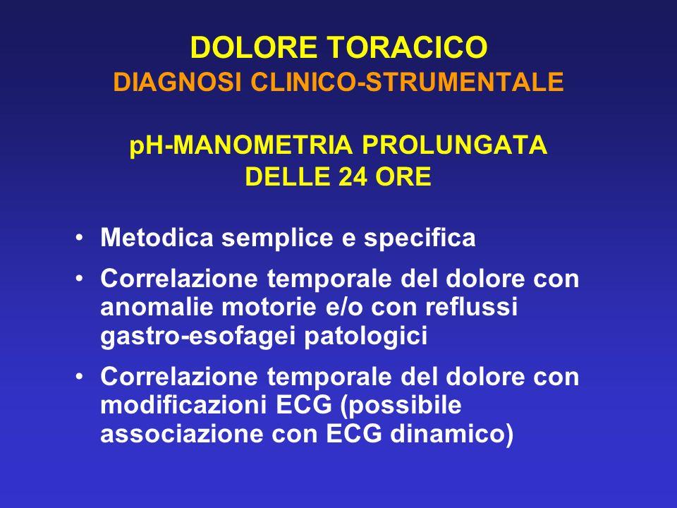 DOLORE TORACICO DIAGNOSI CLINICO-STRUMENTALE pH-MANOMETRIA PROLUNGATA DELLE 24 ORE Metodica semplice e specifica Correlazione temporale del dolore con