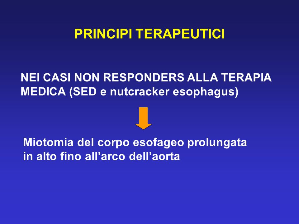 PRINCIPI TERAPEUTICI NEI CASI NON RESPONDERS ALLA TERAPIA MEDICA (SED e nutcracker esophagus) Miotomia del corpo esofageo prolungata in alto fino alla