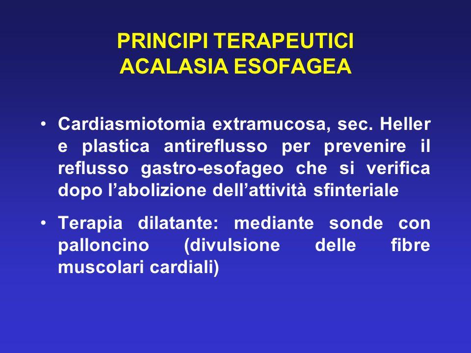 PRINCIPI TERAPEUTICI ACALASIA ESOFAGEA Cardiasmiotomia extramucosa, sec. Heller e plastica antireflusso per prevenire il reflusso gastro-esofageo che