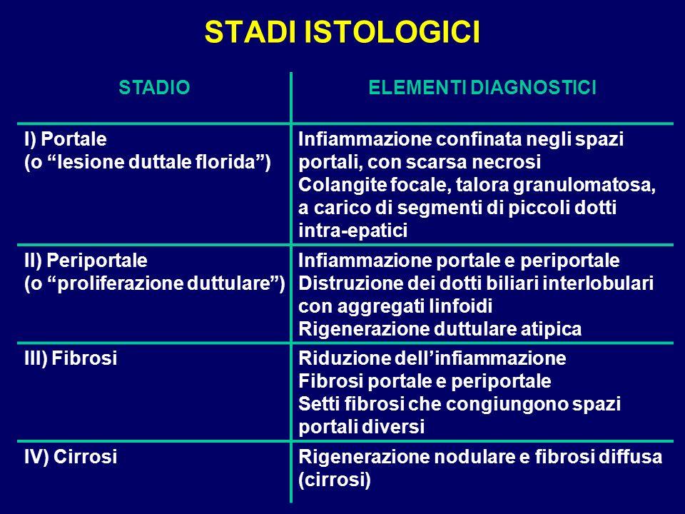 STADI ISTOLOGICI STADIOELEMENTI DIAGNOSTICI I) Portale (o lesione duttale florida) Infiammazione confinata negli spazi portali, con scarsa necrosi Col
