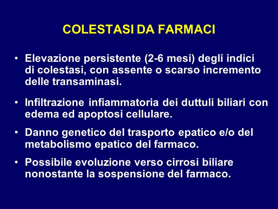 COLESTASI DA FARMACI Elevazione persistente (2-6 mesi) degli indici di colestasi, con assente o scarso incremento delle transaminasi. Infiltrazione in