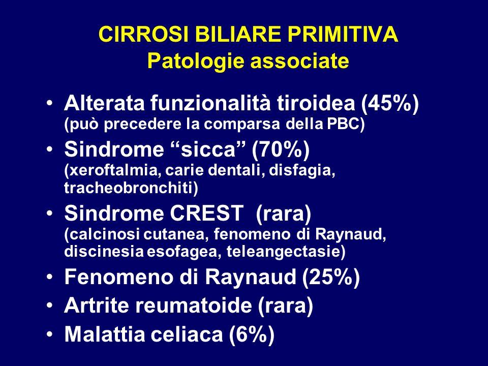 CIRROSI BILIARE PRIMITIVA Patologie associate Alterata funzionalità tiroidea (45%) (può precedere la comparsa della PBC) Sindrome sicca (70%) (xerofta