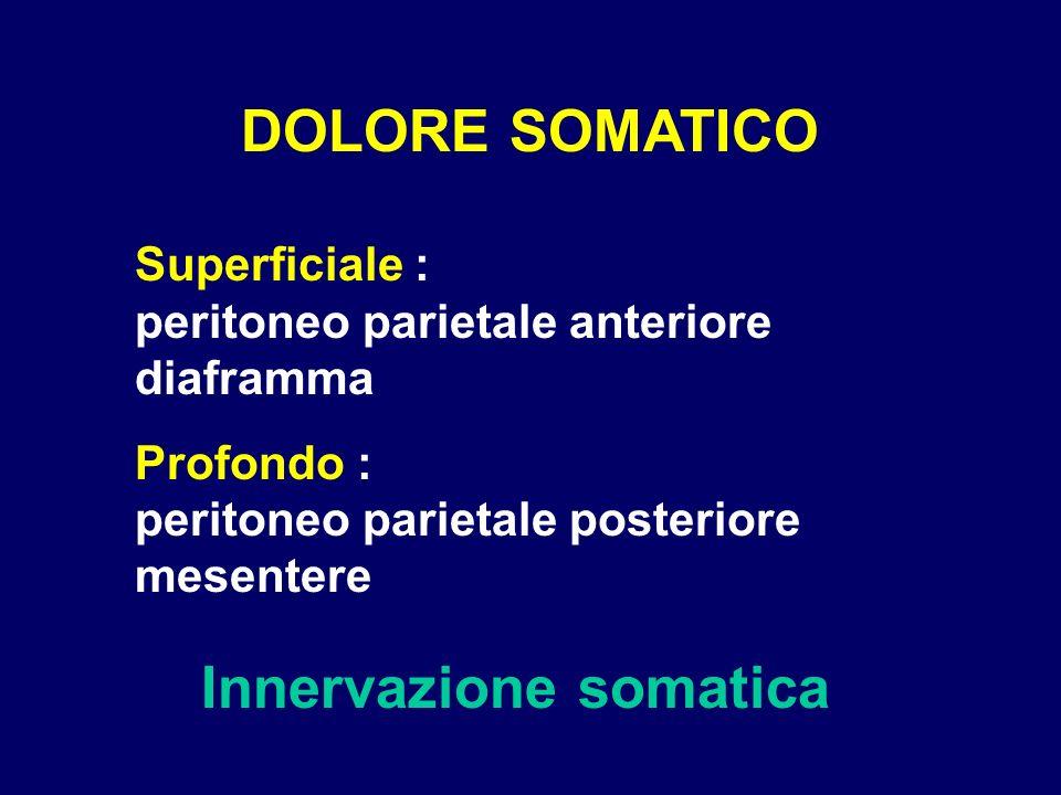 DOLORE SOMATICO Innervazione somatica Superficiale : peritoneo parietale anteriore diaframma Profondo : peritoneo parietale posteriore mesentere