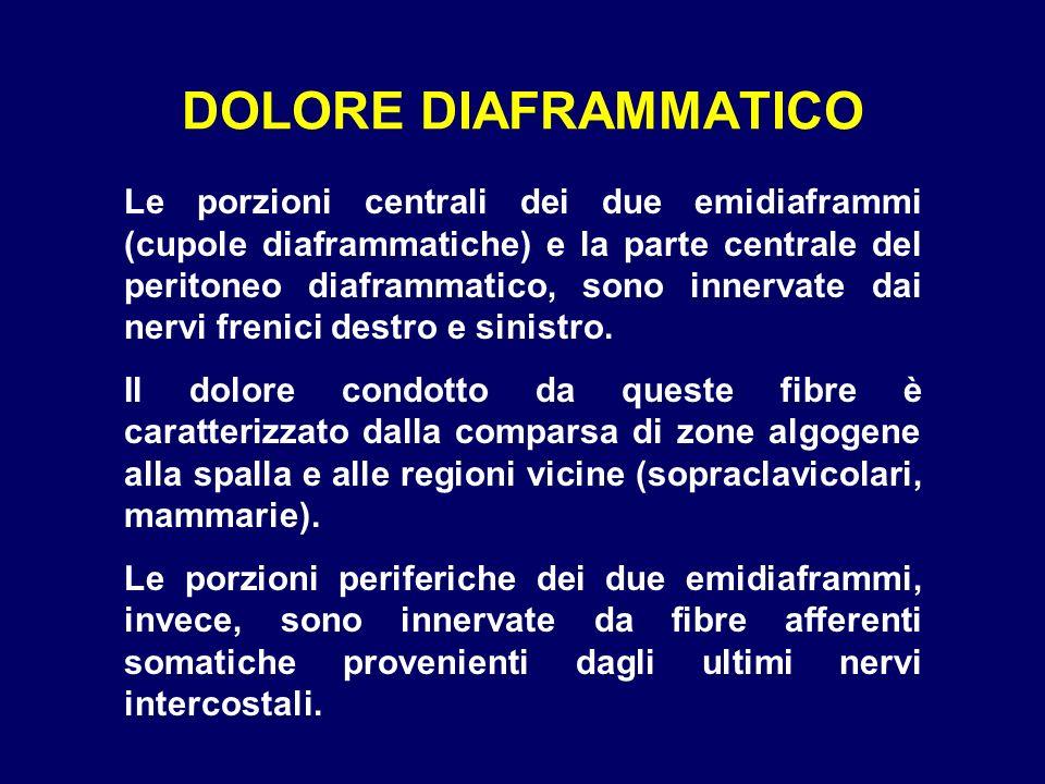 DOLORE DIAFRAMMATICO Le porzioni centrali dei due emidiaframmi (cupole diaframmatiche) e la parte centrale del peritoneo diaframmatico, sono innervate