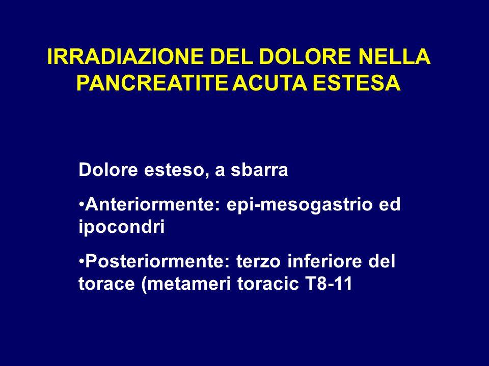 IRRADIAZIONE DEL DOLORE NELLA PANCREATITE ACUTA ESTESA Dolore esteso, a sbarra Anteriormente: epi-mesogastrio ed ipocondri Posteriormente: terzo infer