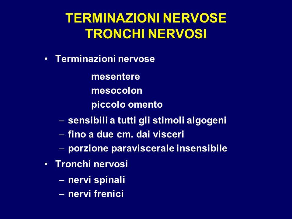 TERMINAZIONI NERVOSE TRONCHI NERVOSI Terminazioni nervose mesentere mesocolon piccolo omento –sensibili a tutti gli stimoli algogeni –fino a due cm. d