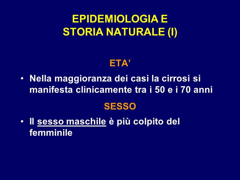 EPIDEMIOLOGIA E STORIA NATURALE (I) ETA Nella maggioranza dei casi la cirrosi si manifesta clinicamente tra i 50 e i 70 anni SESSO Il sesso maschile è