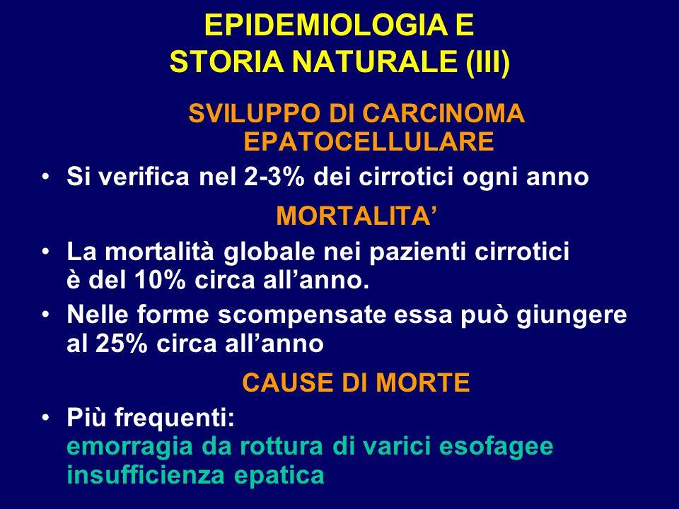 EPIDEMIOLOGIA E STORIA NATURALE (III) SVILUPPO DI CARCINOMA EPATOCELLULARE Si verifica nel 2-3% dei cirrotici ogni anno MORTALITA La mortalità globale